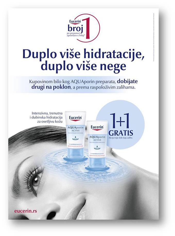 Eucerin AQUAporin akcija 1+1 drugi vizual Eucerin AQUAporin ACTIVE promotivna akcija u apotekama   duplo više hidratacije