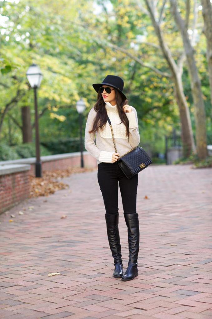 Jesenje kombinacije sa čizmama preko kolena Kako nositi čizme preko kolena