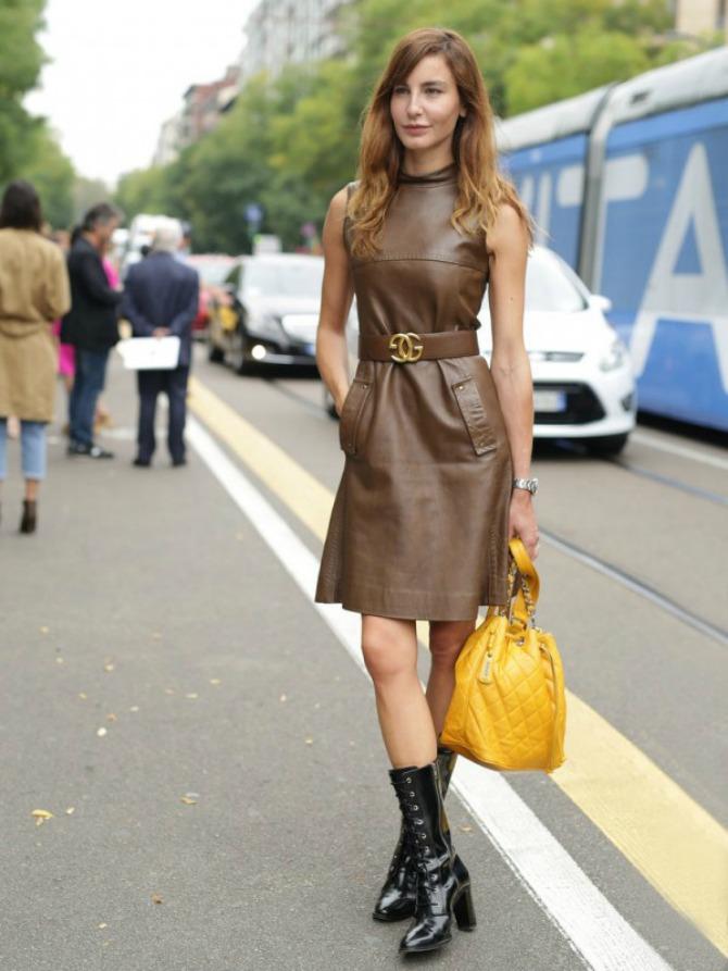 Kožna haljina u braon boji Kožna odeća u boji je novi must have