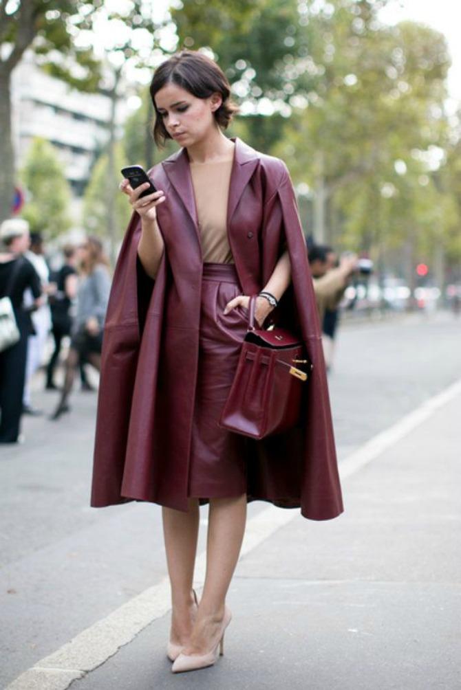 bordo kožni kaput Kožna odeća u boji je novi must have