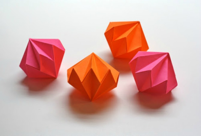 origami ukras za jelku Napravite sami origami ukras u obliku dijamanta