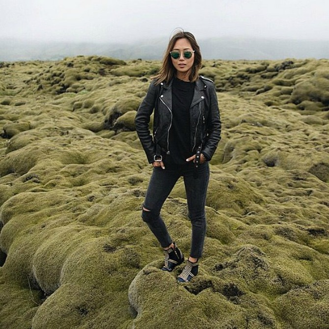 Leather Jacket T Shirt Jeans Booties Nosi CRNU kao modne blogerke