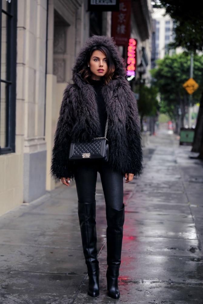 level99 stretch leather janice ultra skinny pants in black Stajlinzi kojima ćete POBEDITI zimu