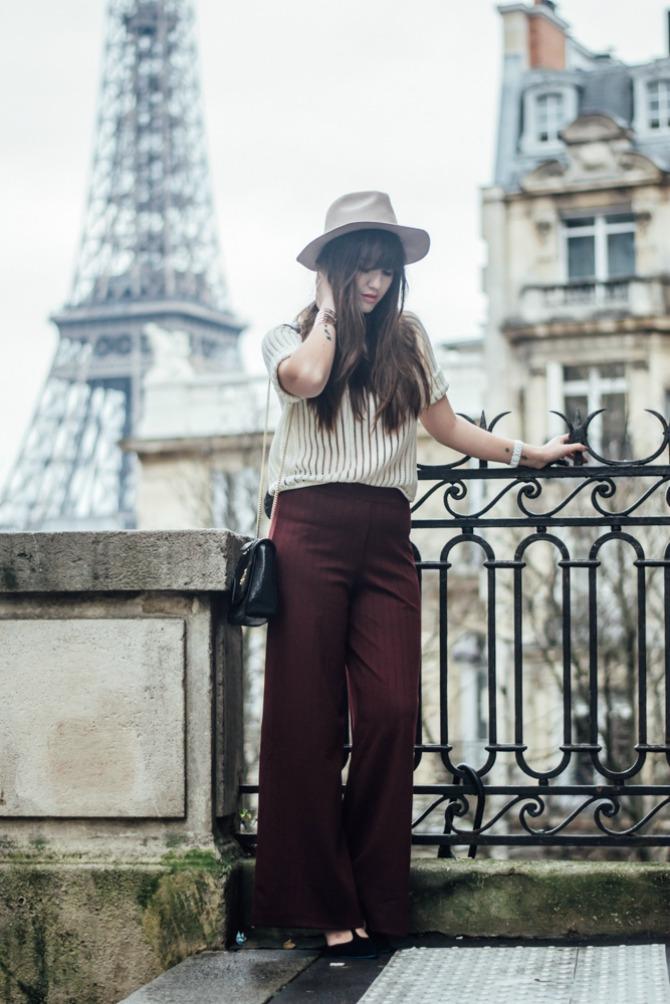3. wide leg pants with chic top and hat Izgledajte ŠIK kao dame sa ulica Pariza