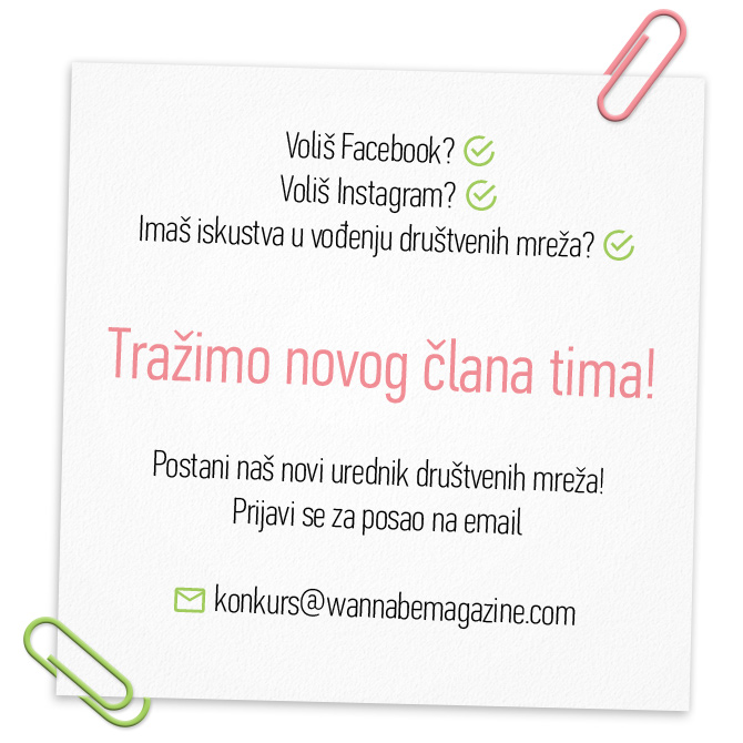Wannabe Konkurs Body W670 Konkurs za POSAO: Postani naš novi urednik društvenih mreža