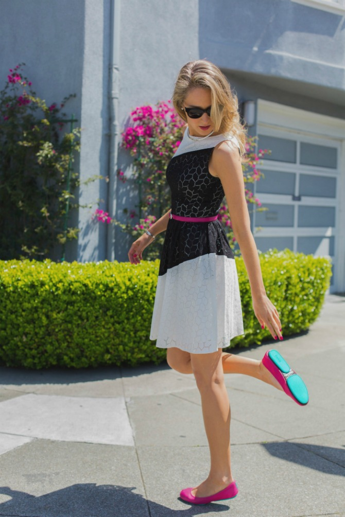 1. hot pink and turquoise ballet flats with dress Najbolji načini da nosite BALETANKE ovog proleća
