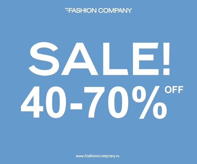 Facebook Twitter Sezonsko sniženje od 40 do 70% u prodavnicama Fashion Company