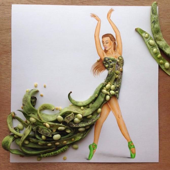 ilustracija 1 Jermenijski modni ilustrator kreira neverovatne haljine od hrane
