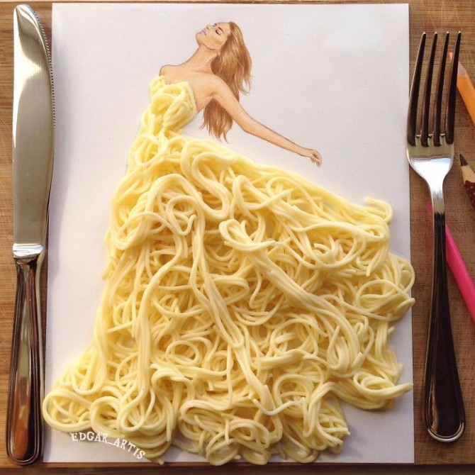 ilustracija 2 Jermenijski modni ilustrator kreira neverovatne haljine od hrane
