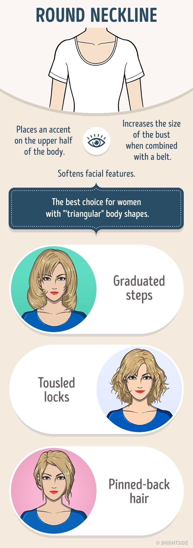 okrugli izrez Kako da izabereš savršenu frizuru prema obliku okovratnika na svojoj haljini?