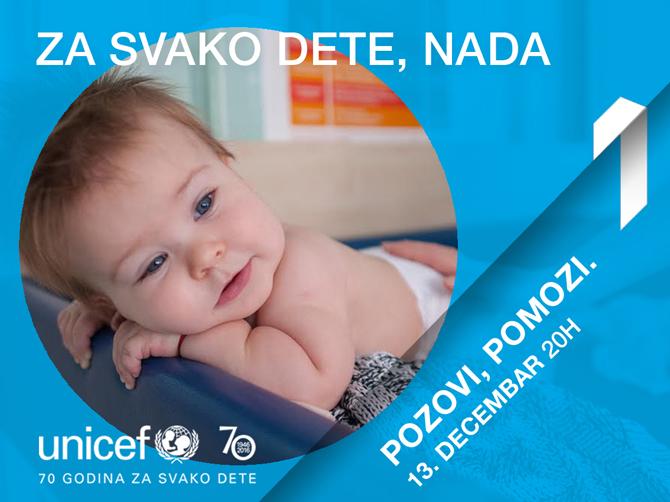 UNICEF i Prva TV Teleton Pozovi, pomozi: Za svako dete, nada
