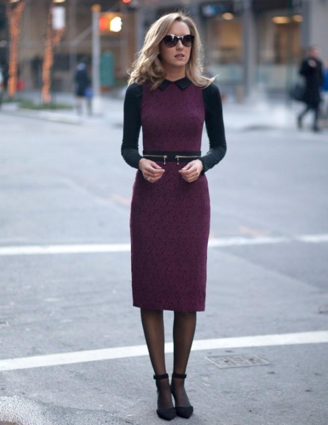 1. cozy pencil dress with office sweater 5 poslovnih autfita za 5 radnih dana