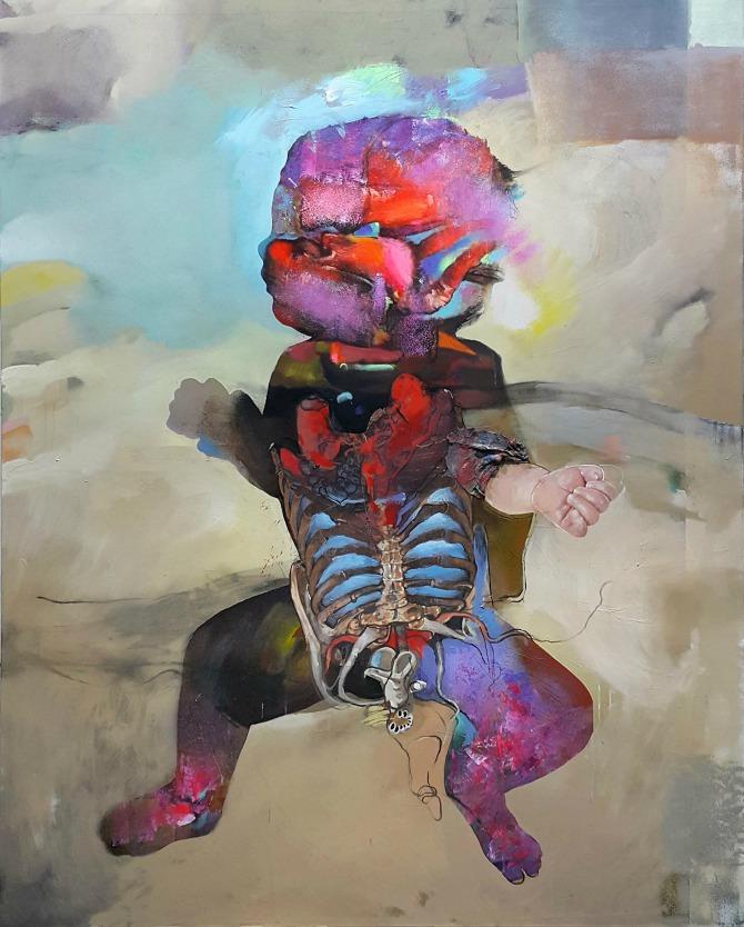 Sazrijevanje 200x160cm 2016 ulje na platnu Mlad i perspektivan umetnik otvara izložbu u Galeriji ULUS