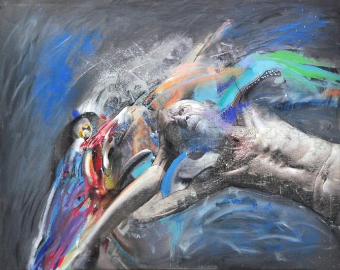 M. Kusmuk Slobodan pad ulje na platnu 200 x 160 Iz Luke Beograd na prestižnu izložbu savremene umetnosti, NordArt