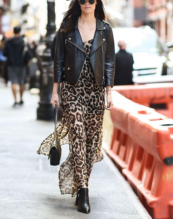 kožna jakna maksi haljina 8 načina da nosiš kožnu jaknu kao Njujorčanka