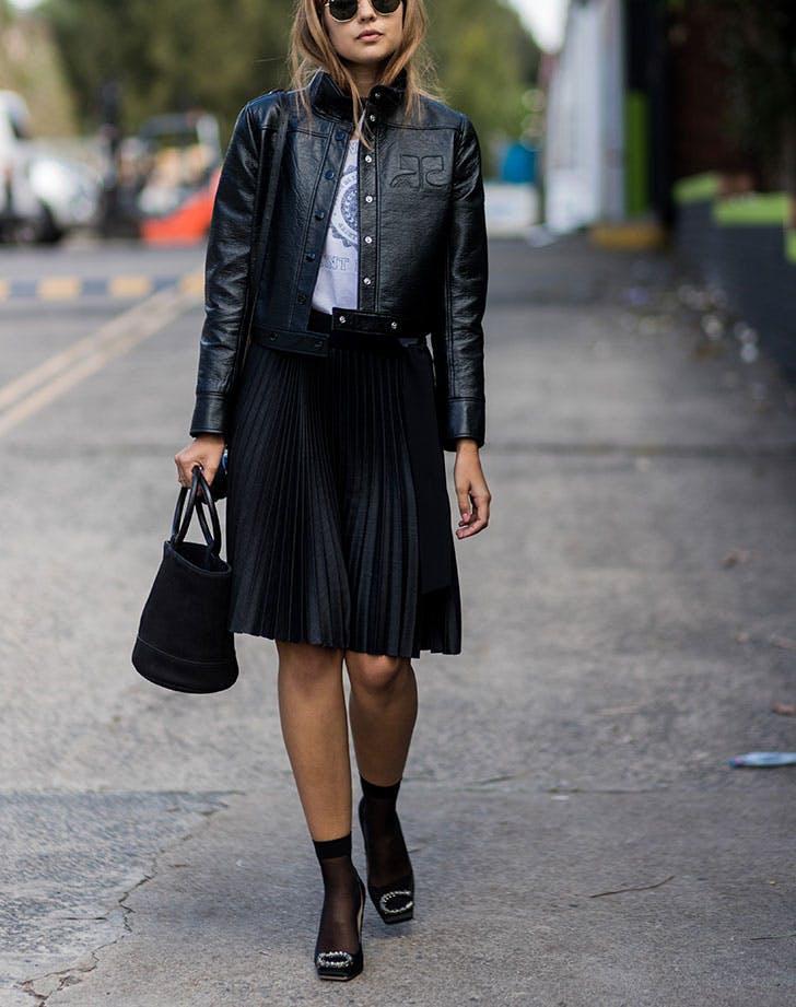 kožna jakna midi suknja 8 načina da nosiš kožnu jaknu kao Njujorčanka