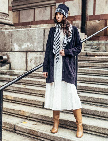 Dokaz da i zimi možeš nositi belu čipkanu haljinu + kako da je stilizuješ!