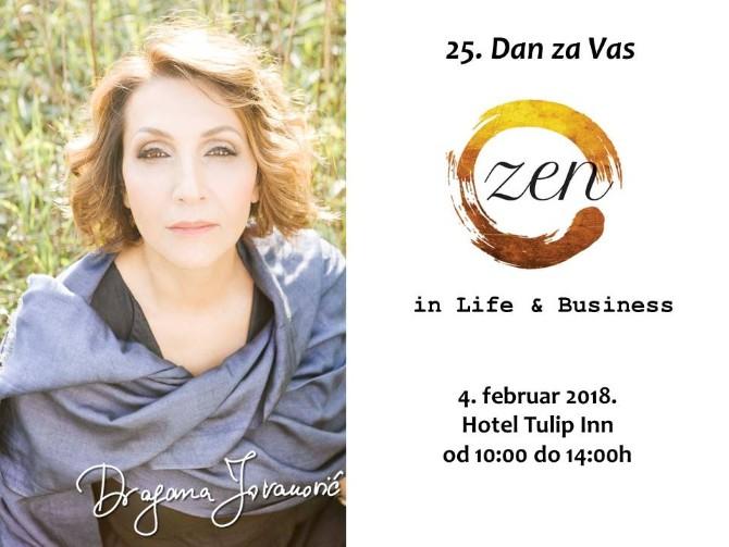 grafika DzV Dragana Jovanović poziva na 25. Dan za Vas i predstavlja svoj novi koncept ZEN In Business
