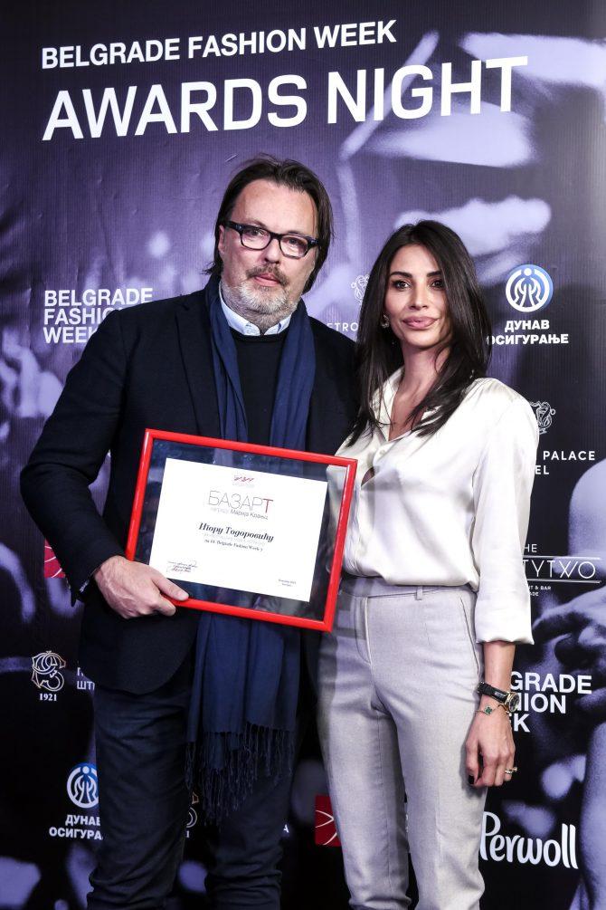 Igor Todorovic nagrada Bazar  Marija Kranjc  e1542285122359 Uručene nagrade 44. Belgrade Fashion Week a