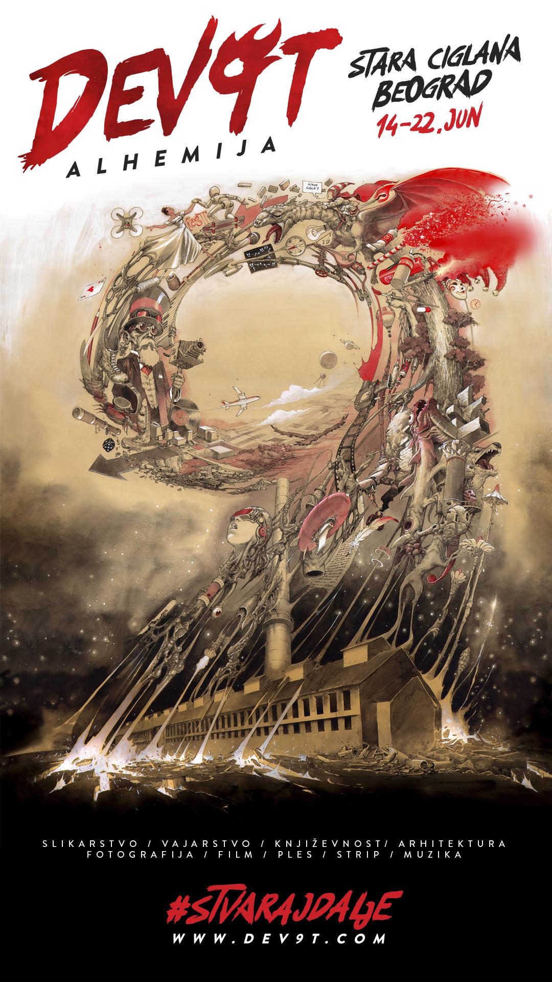 plakat Poziv za umetnike: DEV9T je ove godine alhemija