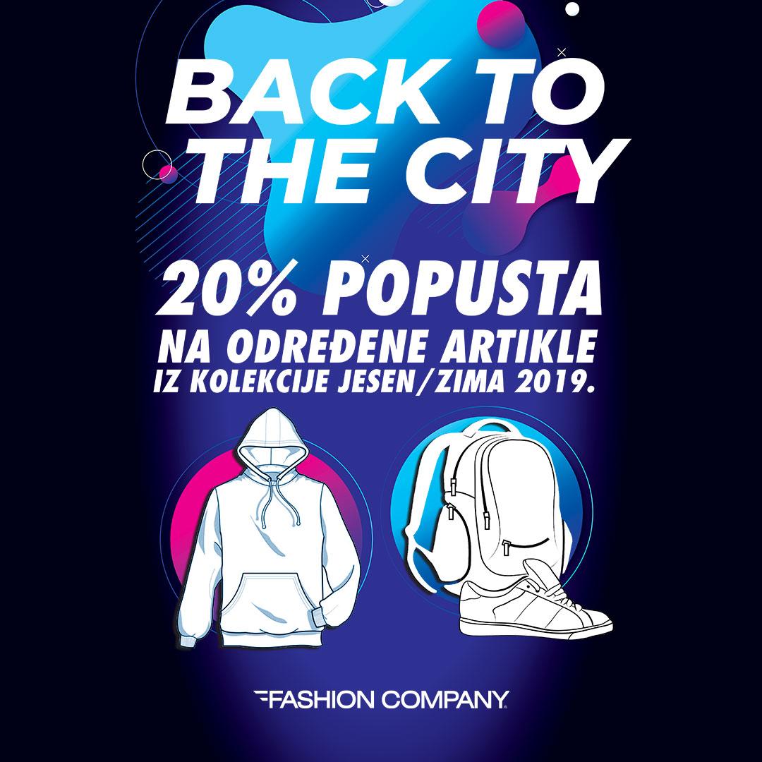 fashion company Fashion Company BACK TO THE CITY akcija: Popust od 20% na određene artikle iz sezone jesen/zima 2019!