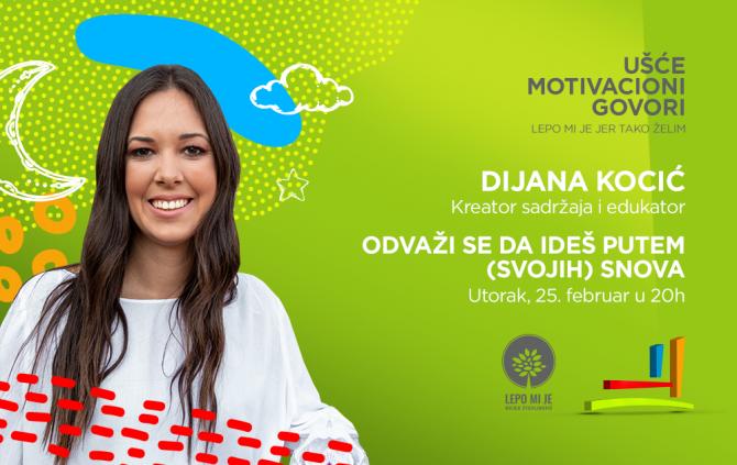 Dijana Kocic motivaciono predavanje u Uscu e1581512494518 Motivacioni govor Dijane Kocić u Ušću: Odvaži se da ideš putem (svojih) snova