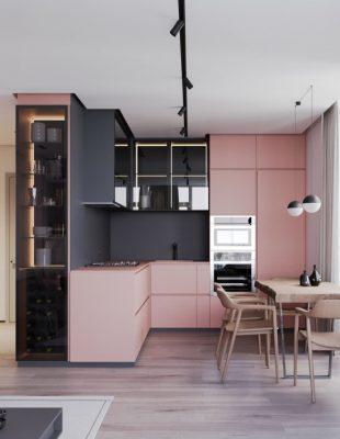 Inspirativne ružičaste kuhinje kao primeri pozitivnosti i elegancije